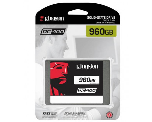 """Твердотельный диск 960GB Kingston SSDNow DC400, 2.5"""", SATA III, [R/W - 555/520 MB/s]"""